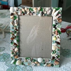 Handmade Seaglass and seashell picture frame
